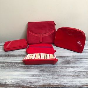 Bundle of 5 red travel/make up bags